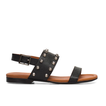 side view Black textured leather Billi Bi flat sandal with silver stud detail