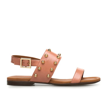 single side view pink leather Billi Bi flat sandal with gold stud detail