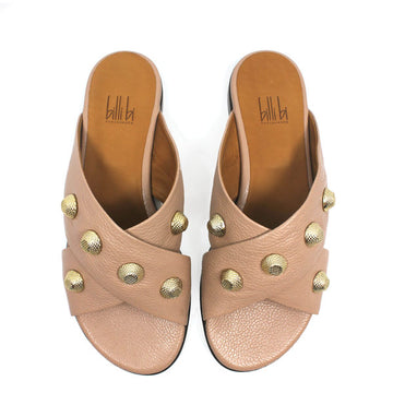 top view pair of light pink textured leather Billi Bi flat crossover slide with gold stud detail