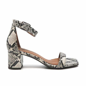8720 White | Mid heel leather snakeprint sandal