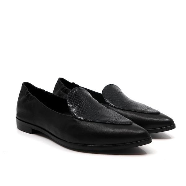 91512 Black | Flat leather loafers