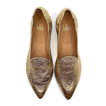 91512 Gold | Flat leather loafers
