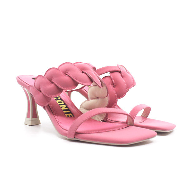 Domi Pink | Mid heel leather mule