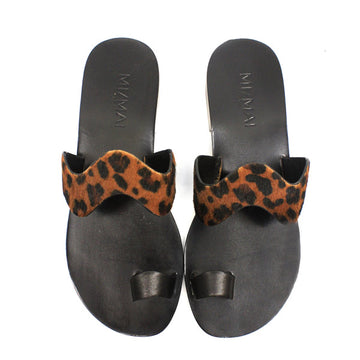 Goa Leopard | Leather toe loop slide