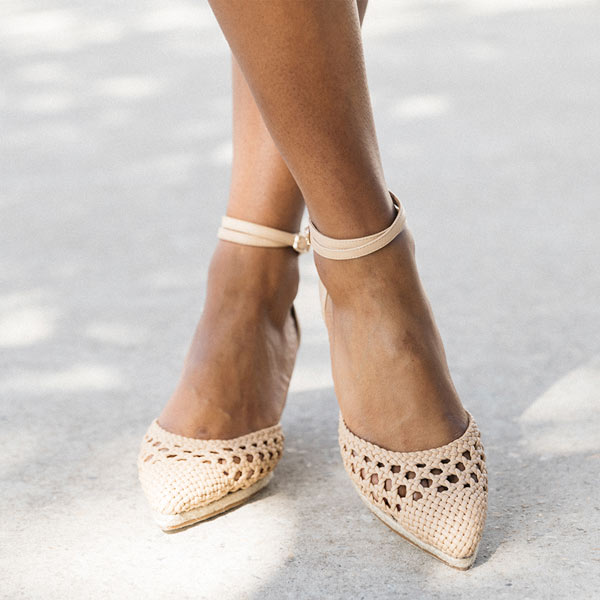 Selena Beige | Closed toe espadrille wedge