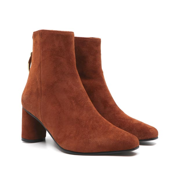 Wave Oval Brown | mid heel suede ankle boot