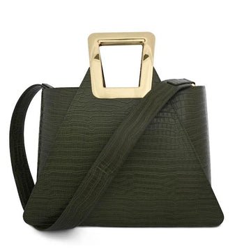 Fuji Maxi Green | Crocodile tote bag