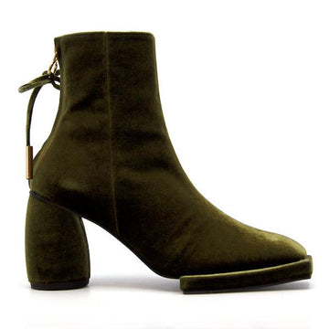 Square Velvet Olive | High heel ankle boot