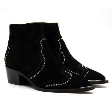 5403 Black | Low heel suede boot