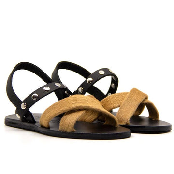 Slingback Camel | Flat leather and cowhide sandal