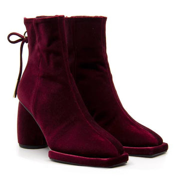 Square Velvet Burgundy | High heel ankle boot