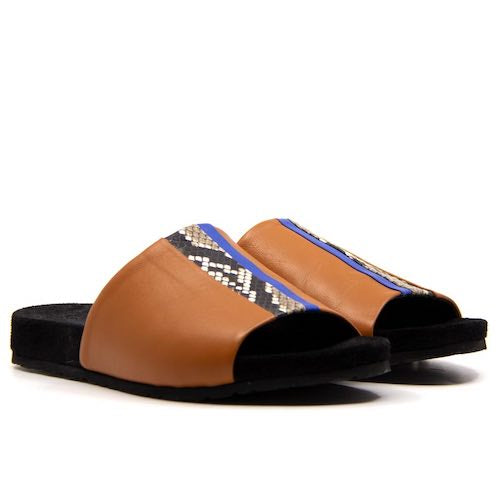 Ipanema Speed Slider Tan | Leather platform slide