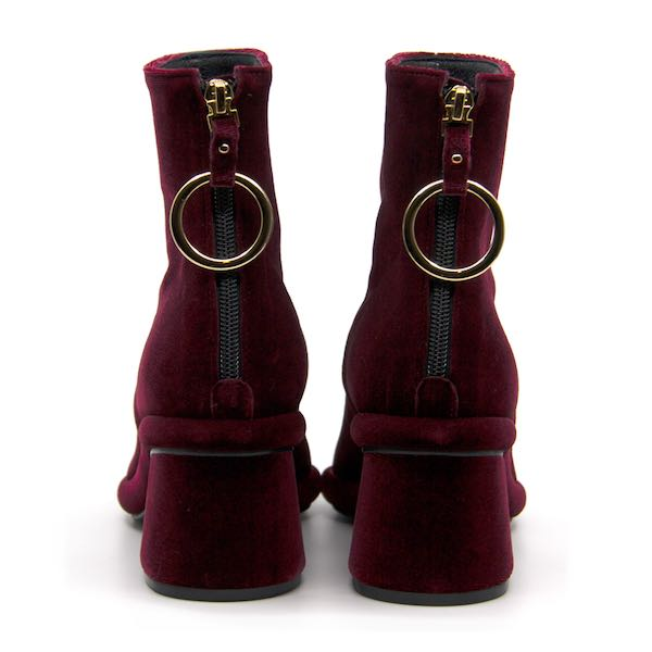 Ring Velvet Burgundy | Mid heel ankle boot