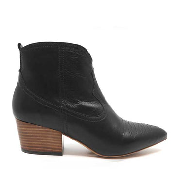 Giselle Black | Western-style mid heel ankle boot