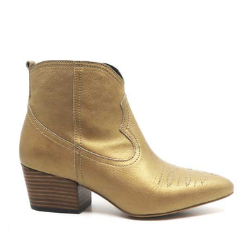 Giselle Gold | western-style mid heel ankle boot