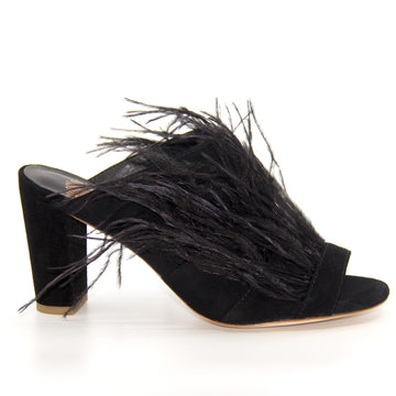 Fara Black | Mid heel suede and feathered mule
