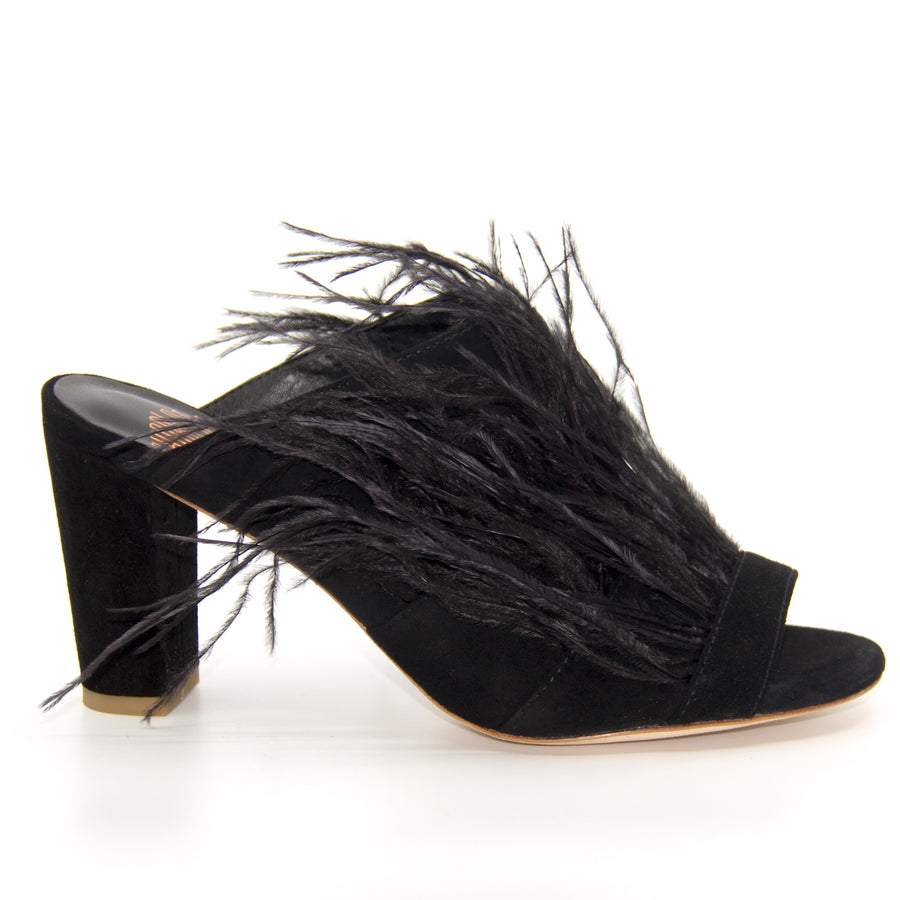 Fara Black | Mid heel suede and feather mule