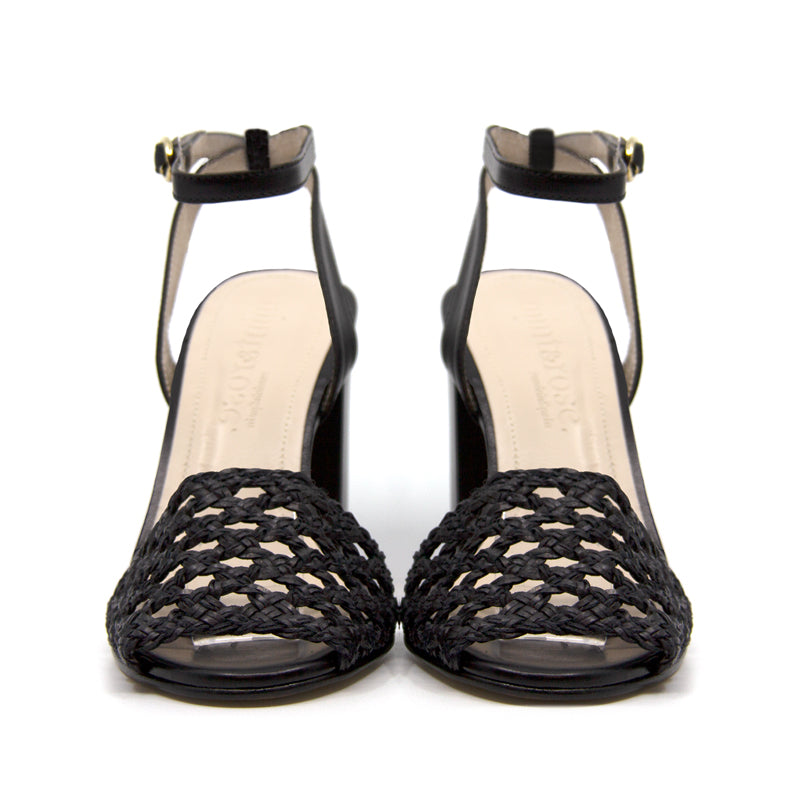 Mint&Rose Arlena Black braided heel