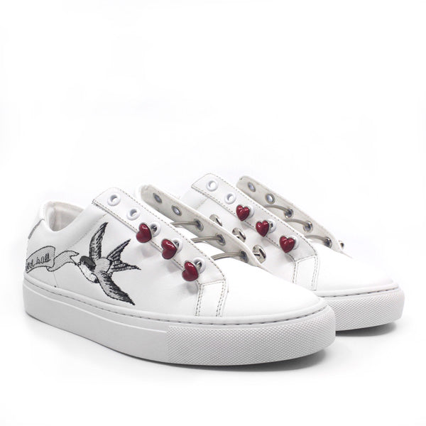 Joe Love | Embroidered white leather sneaker