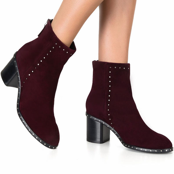 Segin Burgundy | Mid heel suede ankle boot