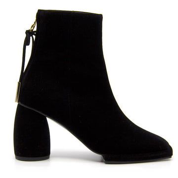 Square Velvet Black | High heel ankle boot