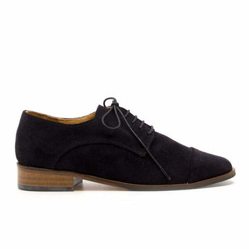 Sherlock Navy | Flat suede lace up brogue
