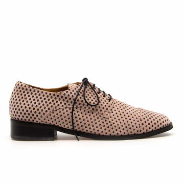 Sherlock Pink Polka Dot | Flat suede lace up brogue