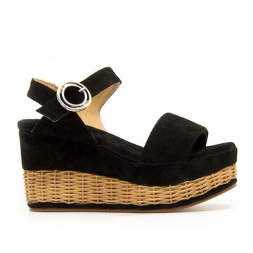 Lucrece Black | Platform wedge sandal