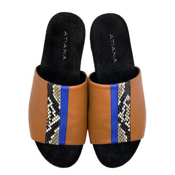 Ipanema Speed Slider Tan | Leather platform slides