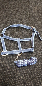 Blue pony halter and lead set