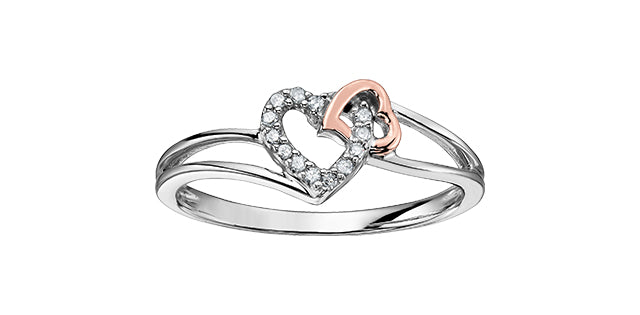bijouterie-clermont-labrecque-bague-duo-cœurs-diamants-or-10k-rose-blanc-dd2589
