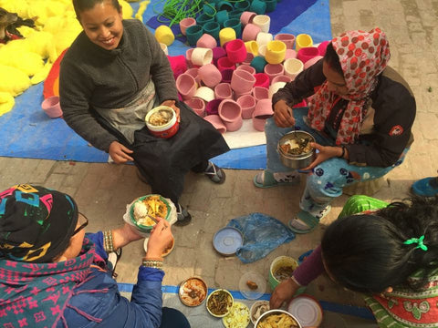 Meal break for fair trade workers, Nepal