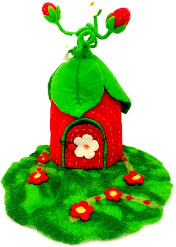 Felt Fairy House - Strawberry Fairy House - Moonstone Felt And Crystals