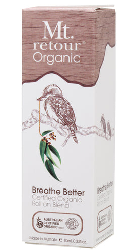 Mt Retour 100% Organic Essential Oil Roller Blend - Breathe Better - Moonstone Felt And Crystals