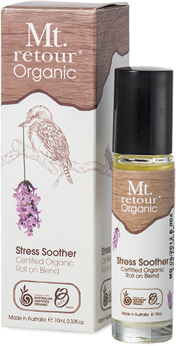 Mt Retour 100% Organic Essential Oil Roll on Blend - Stress Soother - Moonstone Felt And Crystals