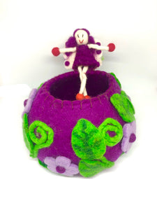 Felt Fairy Bowl - Purple Wishing Bowl - Moonstone Felt And Crystals