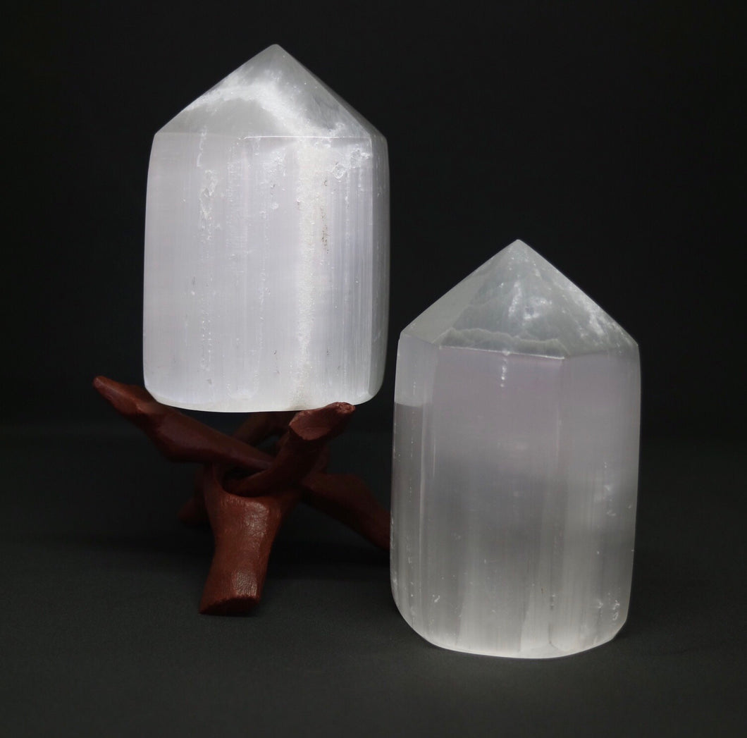 Selenite polished tower - small - Moonstone Felt And Crystals