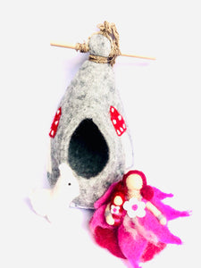 Felt Fairy House - Fairy and Alpaca pod - Moonstone Felt And Crystals