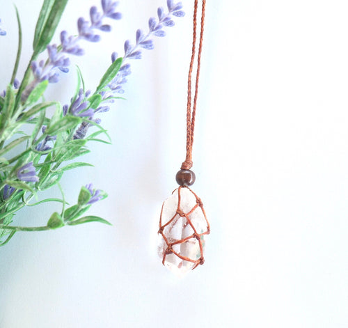 Clear Quartz Macrame Necklace - Moonstone Felt And Crystals