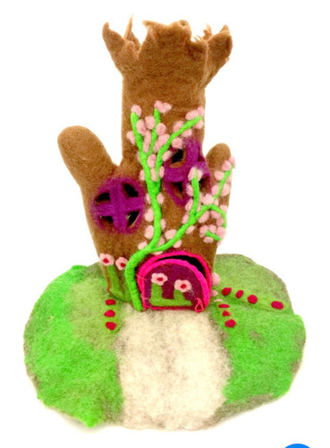 Felt Fairy House - Enchanted tree house - Moonstone Felt And Crystals