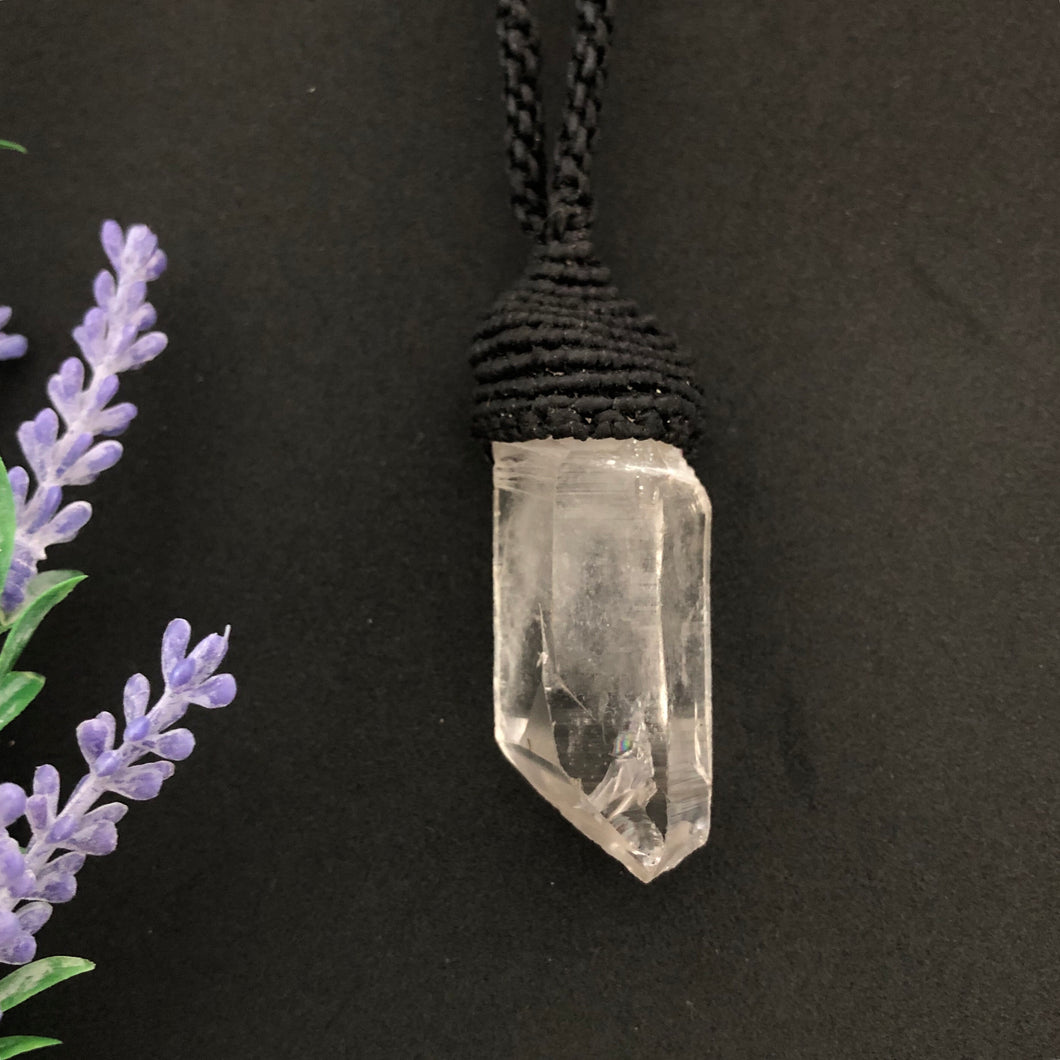 Large Clear Quartz Necklace black - Moonstone Felt And Crystals