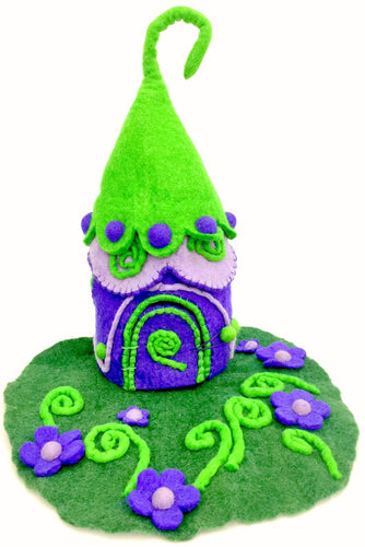 Felt Fairy House - Purple Witch potion House - Moonstone Felt And Crystals