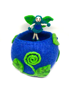 Felt Fairy Bowl - Blue Wishing Bowl - Moonstone Felt And Crystals