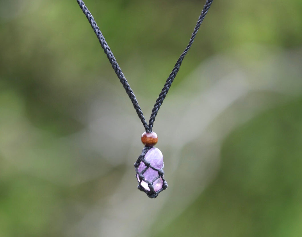 Amethyst Macrame necklace - Moonstone Felt And Crystals