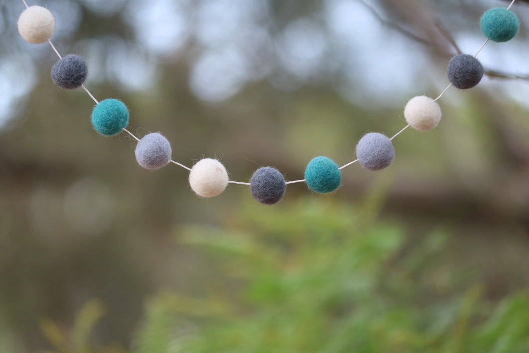 Felt Ball Garland - Ocean - Moonstone Felt And Crystals