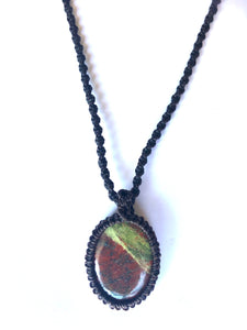 Unakite Macrame pendant - Moonstone Felt And Crystals