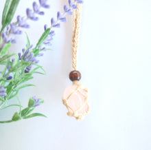 Load image into Gallery viewer, Rose Quartz Macrame Necklace - Moonstone Felt And Crystals