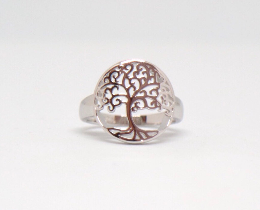 Sterling Silver Tree Of Life Ring - Moonstone Felt And Crystals