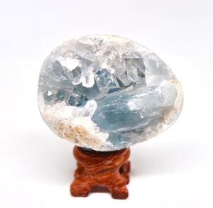 Celestite Rough Geode Medium 340g - Moonstone Felt And Crystals