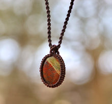 Load image into Gallery viewer, Unakite Macrame pendant - Moonstone Felt And Crystals